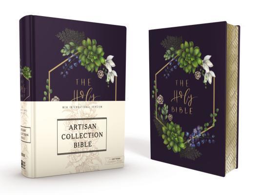 Niv, Artisan Collection Bible, Cloth Over Board, Navy Floral, Designed Edges Under Gilding, Red Letter Edition, Comfort Print