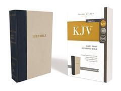 KJV Giant Print Reference Bible Navy/Oatmeal Cloth Over Board