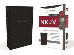 NKJV Compact Thinline Bible Black Leathersoft