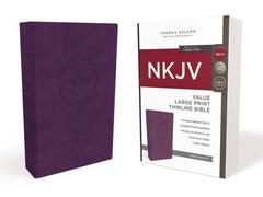 NKJV Value Large Print Thinline Bible Purple Leathersoft