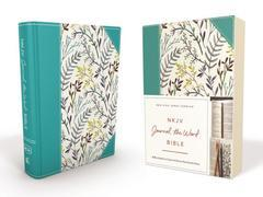 NKJV Journal the Word Bible Teal Floral Cloth Over Board