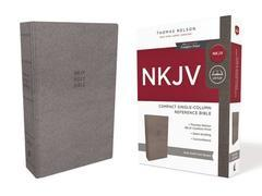 NKJV Compact Single Column Reference Bible Gray Cloth Over Board Comfort Pr
