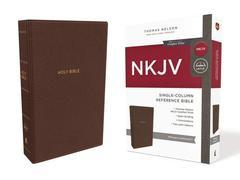 NKJV Single Column Reference Bible Mahogany Leathersoft Comfort Print