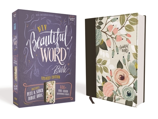 Niv, Beautiful Word Bible, Updated Edition, Peel/Stick Bible Tabs, Cloth Over Board, Multi-Color Floral, Red Letter, Comfort Print