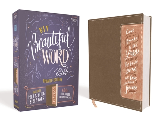 Niv, Beautiful Word Bible, Updated Edition, Peel/Stick Bible Tabs, Leathersoft, Brown/Pink, Red Letter, Comfort Print
