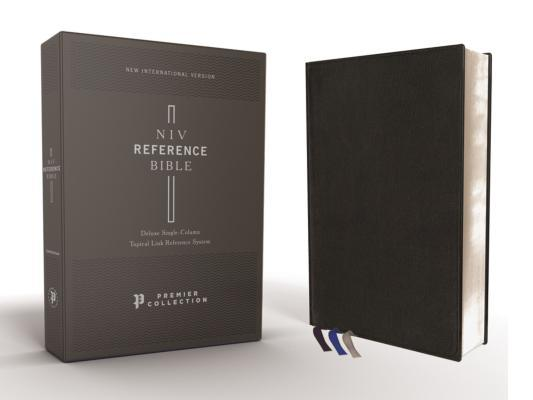 Niv, Reference Bible, Deluxe Single-Column, Premium Leather, Goatskin, Black, Premier Collection, Comfort Print