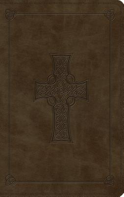 ESV Large Print Thinline Bible (Trutone, Olive, Celtic Cross Design)