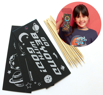 Vacation Bible School (Vbs) 2019 to Mars and Beyond Scratch Art Bookmark Craft Kit (Pkg of 12): Explore Where God's Power Can Take You!