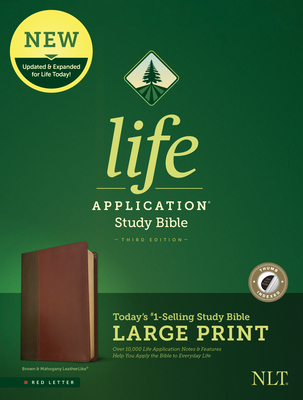 NLT Life Application Study Bible, Third Edition, Large Print (Red Letter, Leatherlike, Brown/Tan, Indexed)