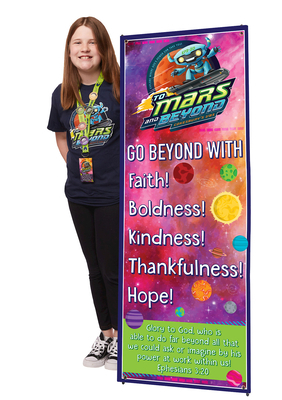 Vacation Bible School (Vbs) 2019 to Mars and Beyond Theme Banner: Explore Where God's Power Can Take You!