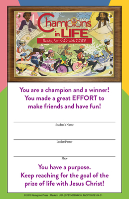 (vbs) 2020 Champions in Life Student Certi Ficates (Pkg of 24): Ready, Set, Go with God!