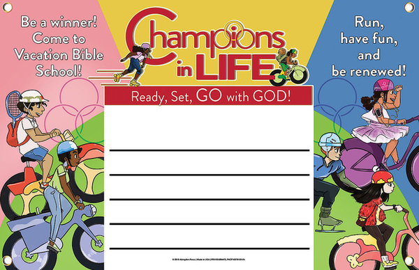 Vacation Bible School (Vbs) 2020 Champions in Life Outdoor Banner: Ready, Set, Go with God!