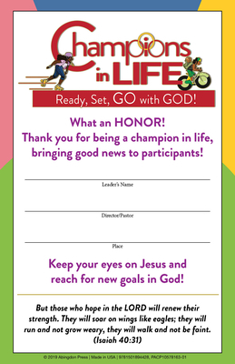 (vbs) 2020 Champions in Life Leader Certif Icates (Pkg of 12): Ready, Set, Go with God!