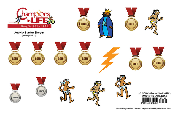 (vbs) 2020 Champions in Life Activity Stic Kers Sheets (Pkg of 12): Ready, Set, Go with God!