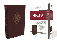 NKJV Giant Print Deluxe Center Column Reference Bible Burgundy
