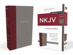 NKJV Thinline Bible Burgundy/Gray Cloth Over Board