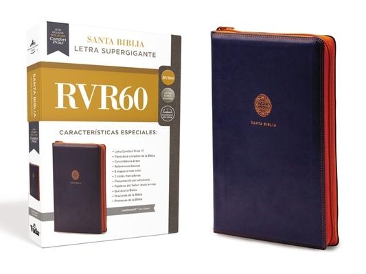 Rvr60 Santa Biblia Letra Supergigante, Leathersoft C/Cierre, Azul