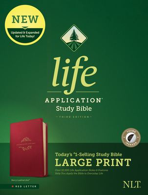 NLT Life Application Study Bible, Third Edition, Large Print (Red Letter, Leatherlike, Berry, Indexed)