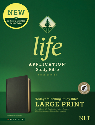 NLT Life Application Study Bible, Third Edition, Large Print (Red Letter, Genuine Leather, Black, Indexed)