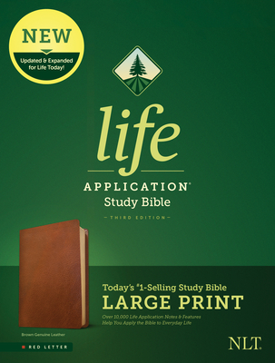 NLT Life Application Study Bible, Third Edition, Large Print (Red Letter, Genuine Leather, Brown)