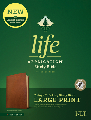 NLT Life Application Study Bible, Third Edition, Large Print (Red Letter, Genuine Leather, Brown, Indexed)