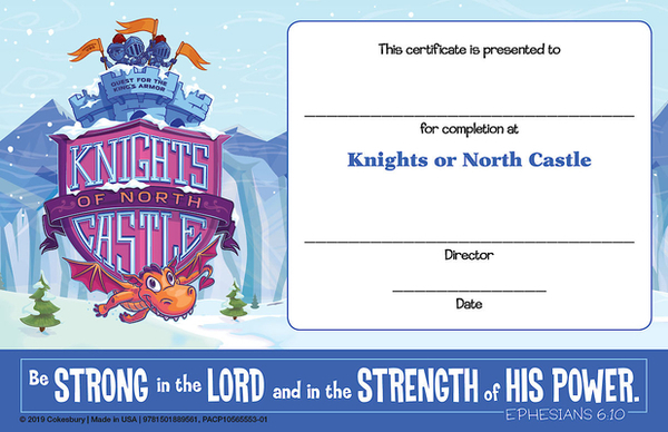 Vacation Bible School (Vbs) 2020 Knights of North Castle Student Certificates (Pkg of 48): Quest for the King's Armor