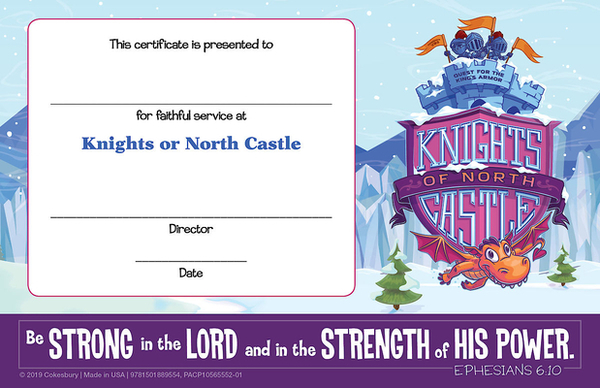 Vacation Bible School (Vbs) 2020 Knights of North Castle Leader Recognition Certificates (Pkg of 12): Quest for the King's Armor
