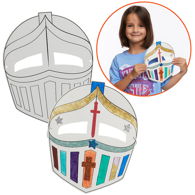 Vacation Bible School (Vbs) 2020 Knights of North Castle Color-Your-Own Knight's Mask (Pkg of 12): Quest for the King's Armor