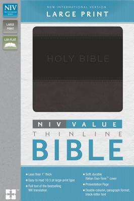 NIV, Value Thinline Bible, Large Print, Imitation Leather, Gray/Black