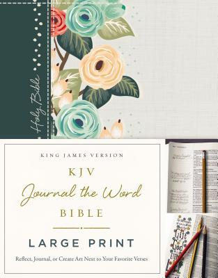 KJV, Journal the Word Bible, Large Print, Green Floral Cloth, Red Letter Edition