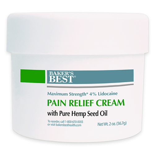 Maximum Strength Lidocaine Pain Relief Cream with Pure Hemp Seed Oil