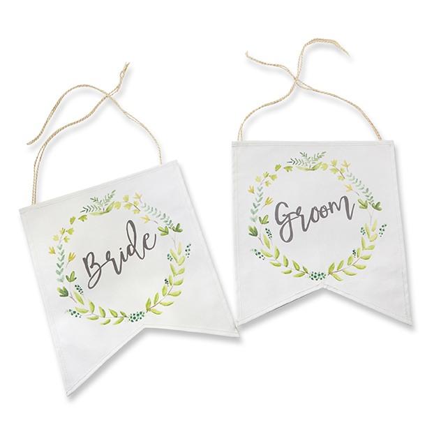 Botanical Canvas Bride & Groom Chair Signs