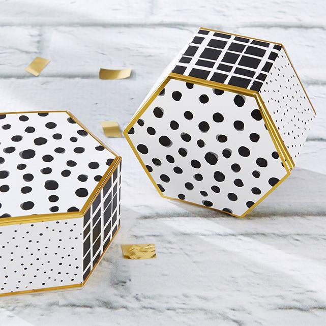 Modern Pattern Hexagon Favor Box 10012