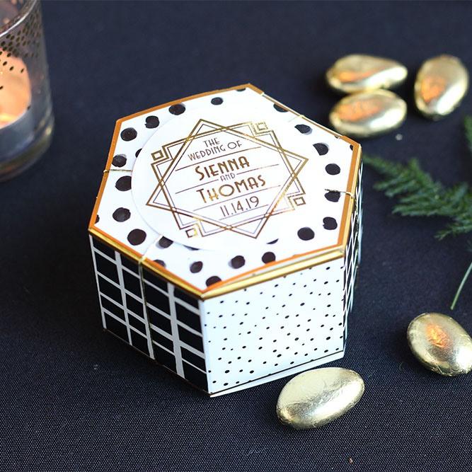 Modern Pattern Hexagon Favor Box with Round Label