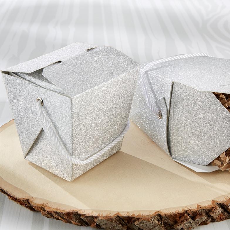 Silver Glitter Takeout Box