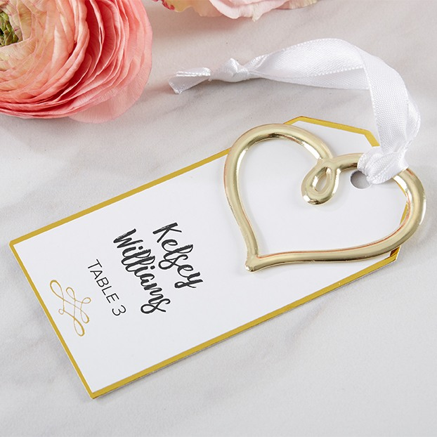 Gold Heart Escort Card