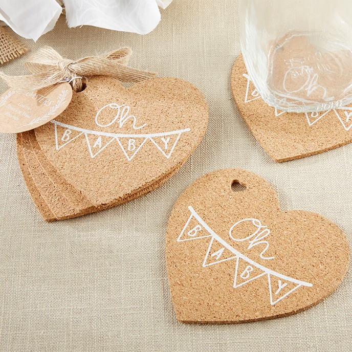 Oh Baby Rustic Heart Cork Coaster 10037