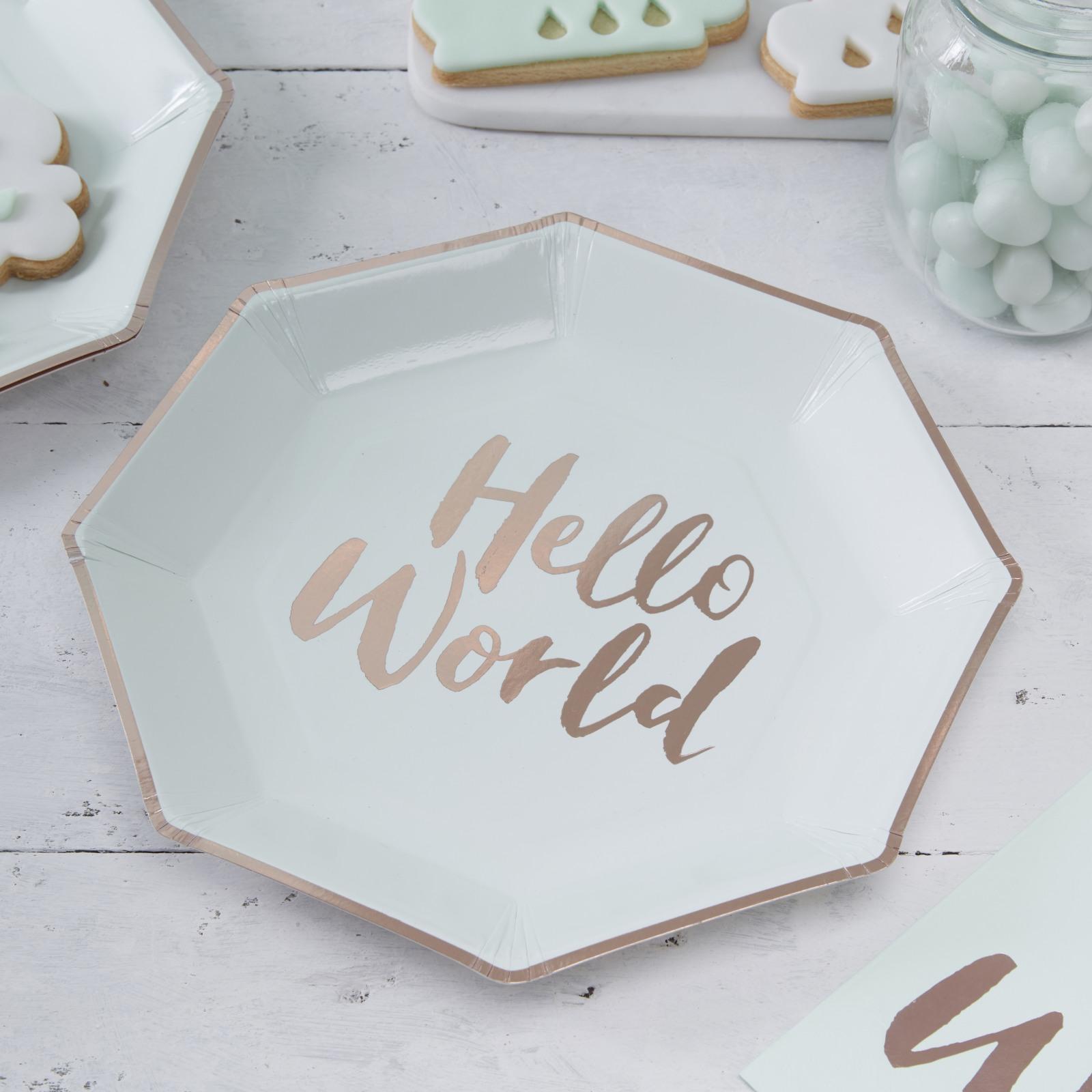 Hello World Mint Paper Plates 10089