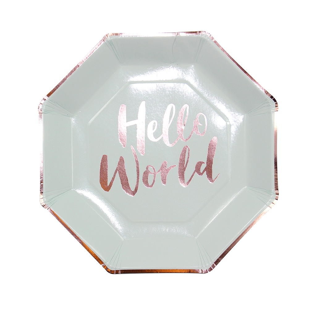 Hello World Mint Paper Plates