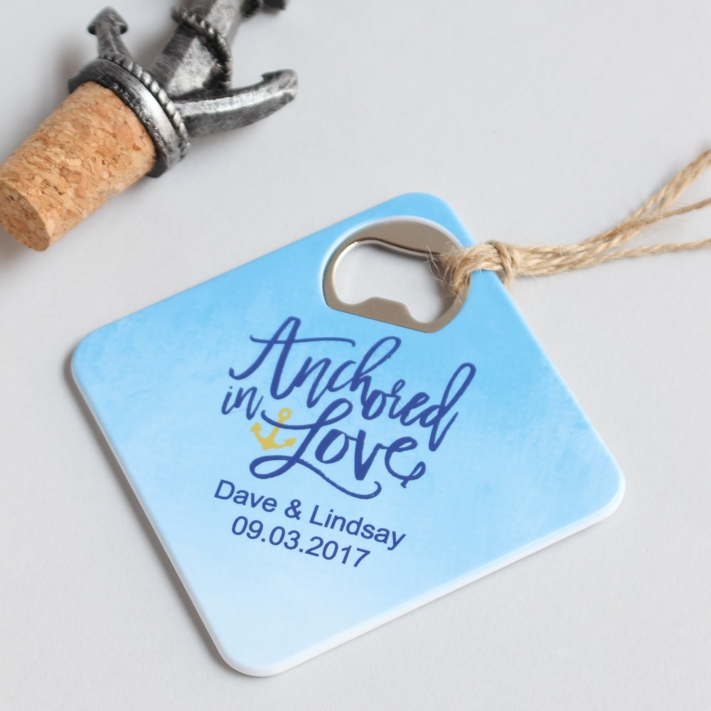 Personalized Anchored in Love Coaster Bottle Openers