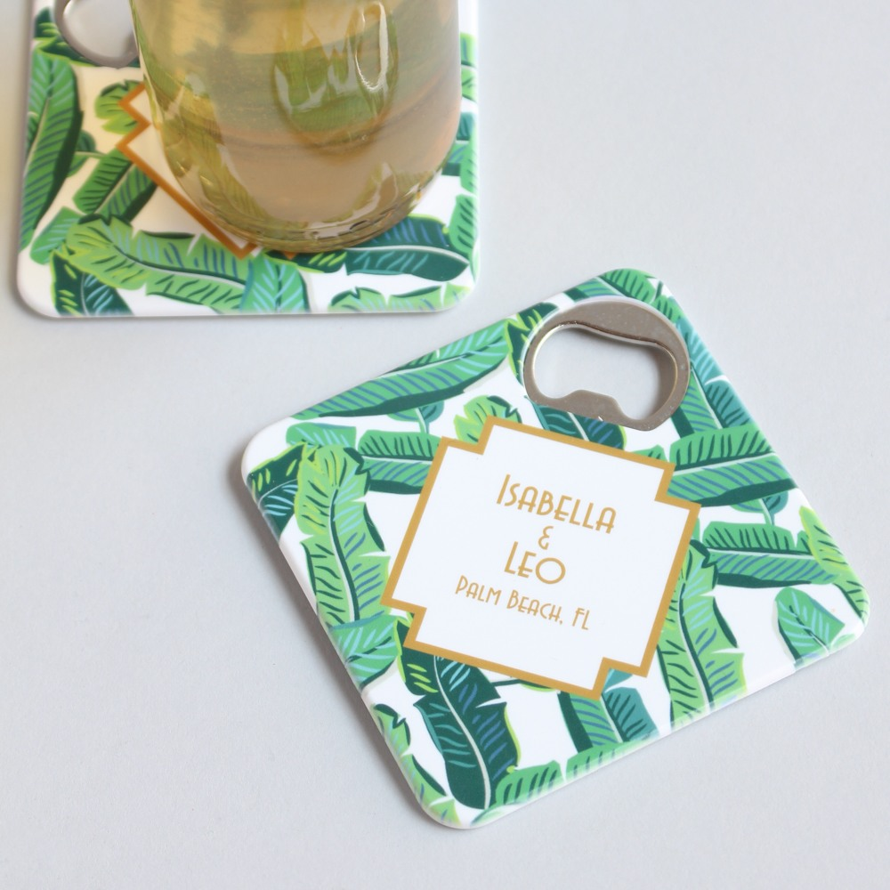 Personalized Palm Leaves Coaster Bottle Openers