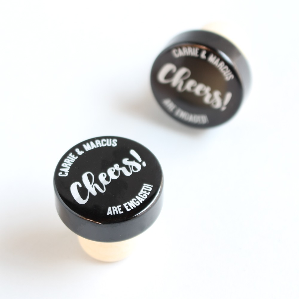 Personalized Cheers Aluminum Top Bottle Stopper