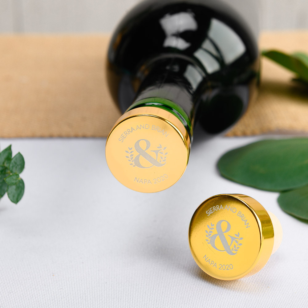 Personalized Eco Ampersand Aluminum Top Bottle Stopper
