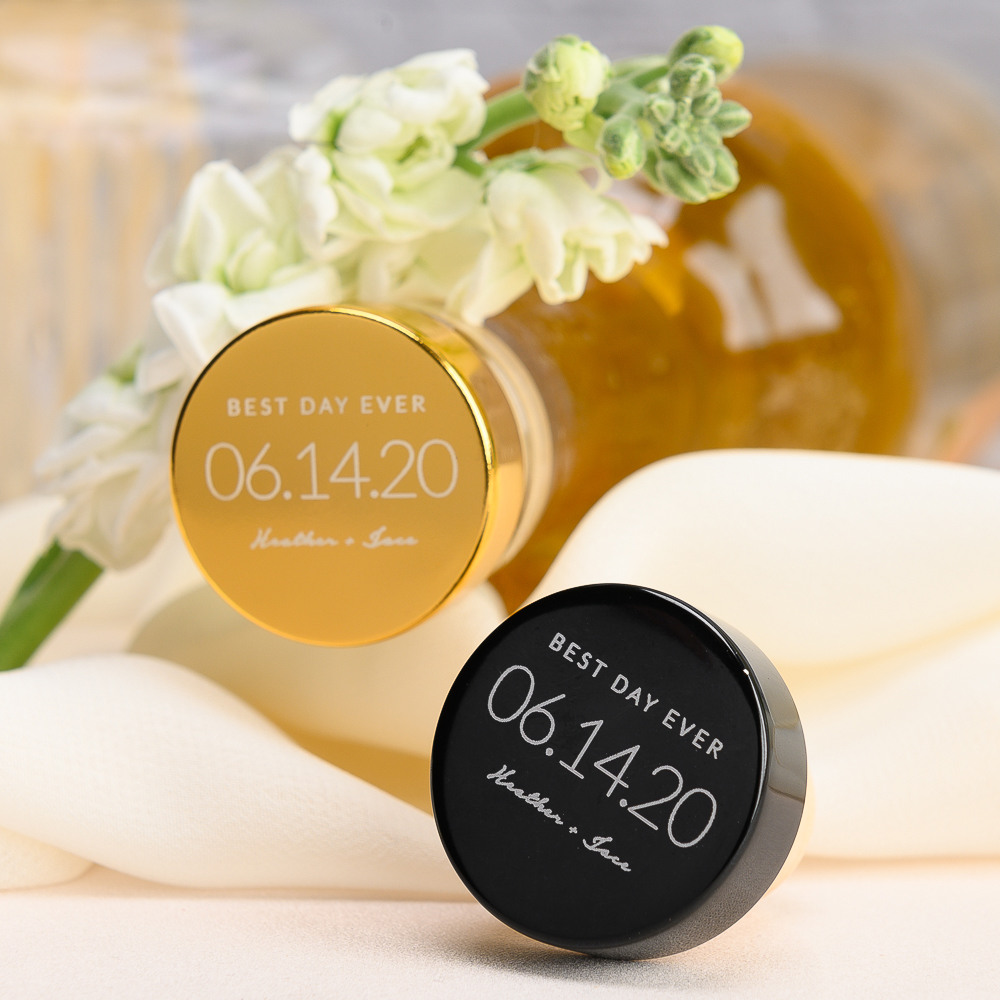 Personalized Wedding Date Aluminum Top Bottle Stopper