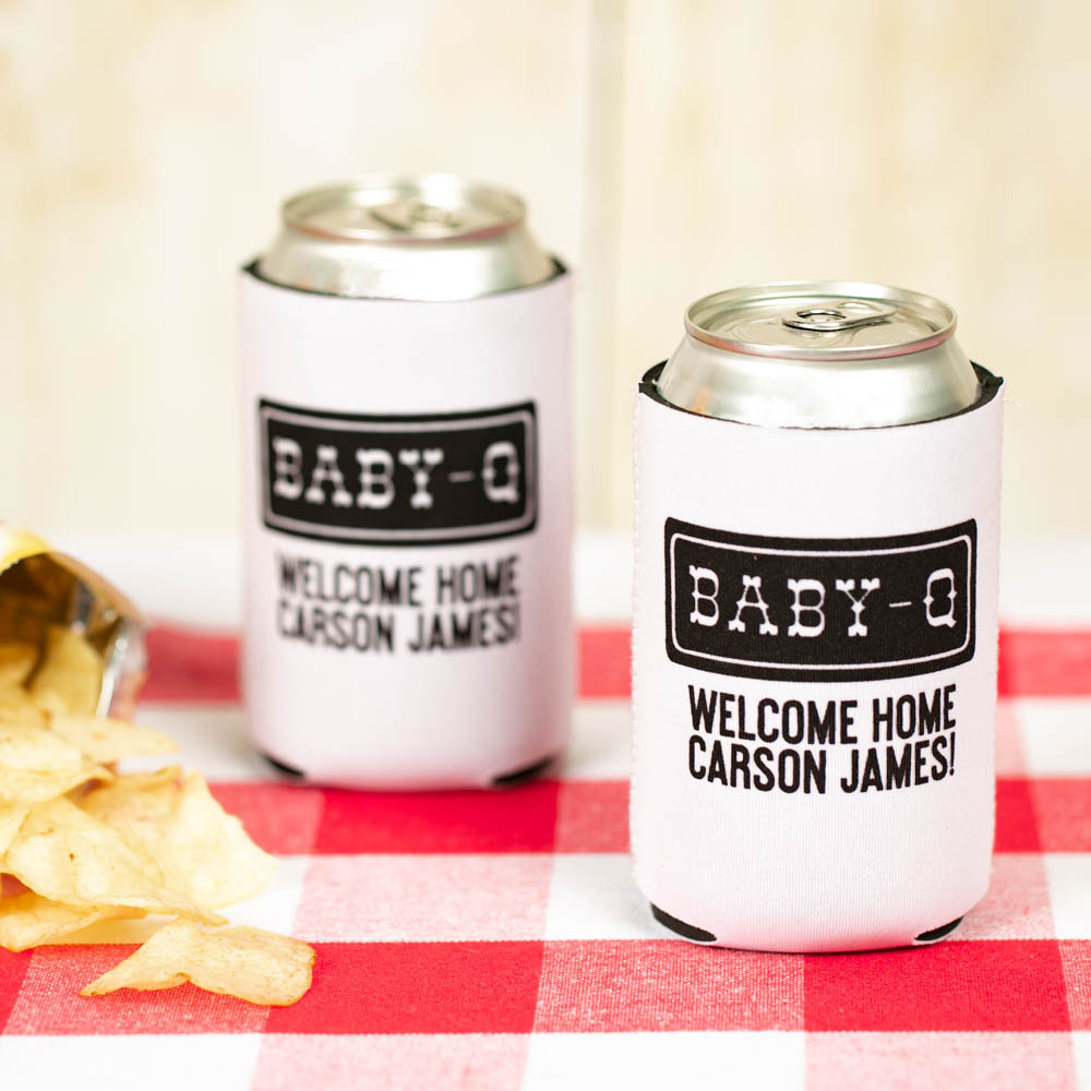 Personalized Baby-q Neoprene Baby Shower Can Sleeve