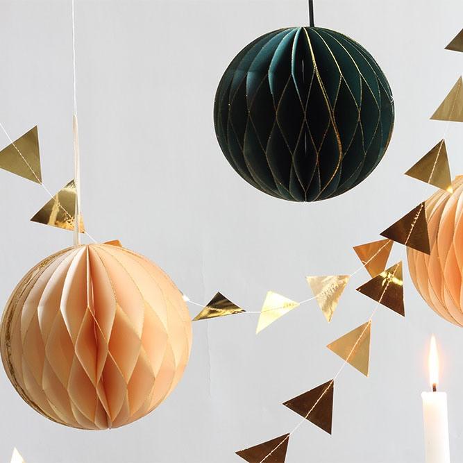 Teal & Cream Glitter Honeycomb Ball Decoration