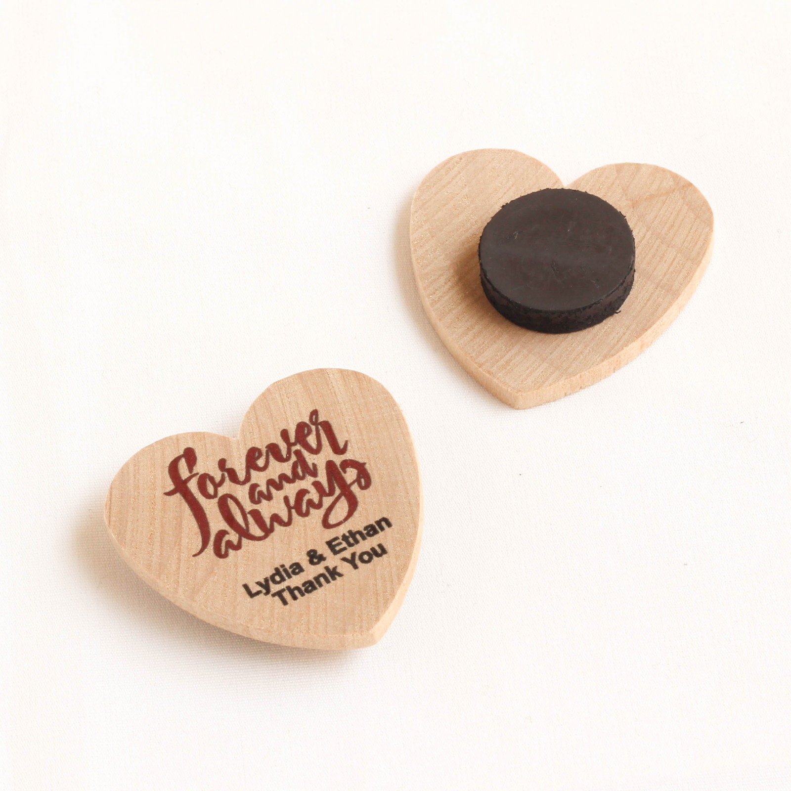Personalized Forever Always Heart Shaped Wooden Magnets