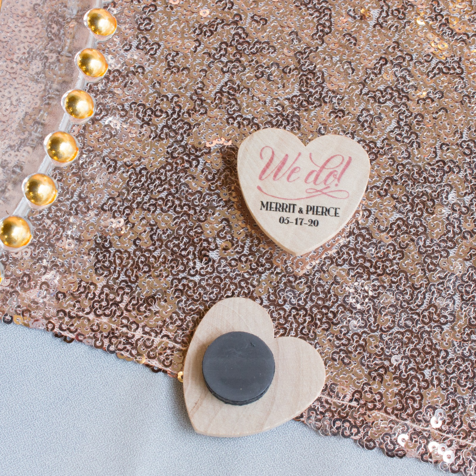 Personalized We Do Heart Shaped Wood Magnets