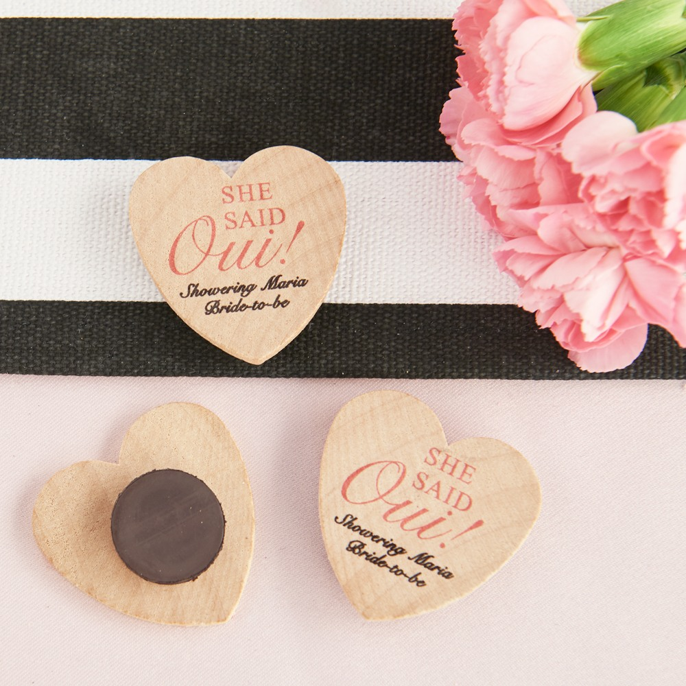 Personalized She Said Oui Heart Shaped Wooden Wedding Magnets QA Refresh