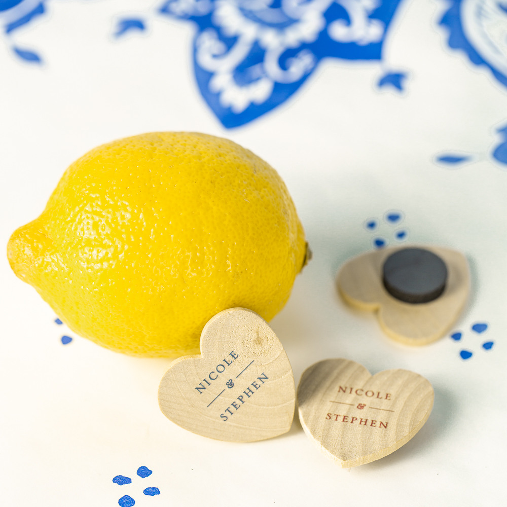 Personalized Citrus Garden Heart Shaped Wooden Wedding Magnets